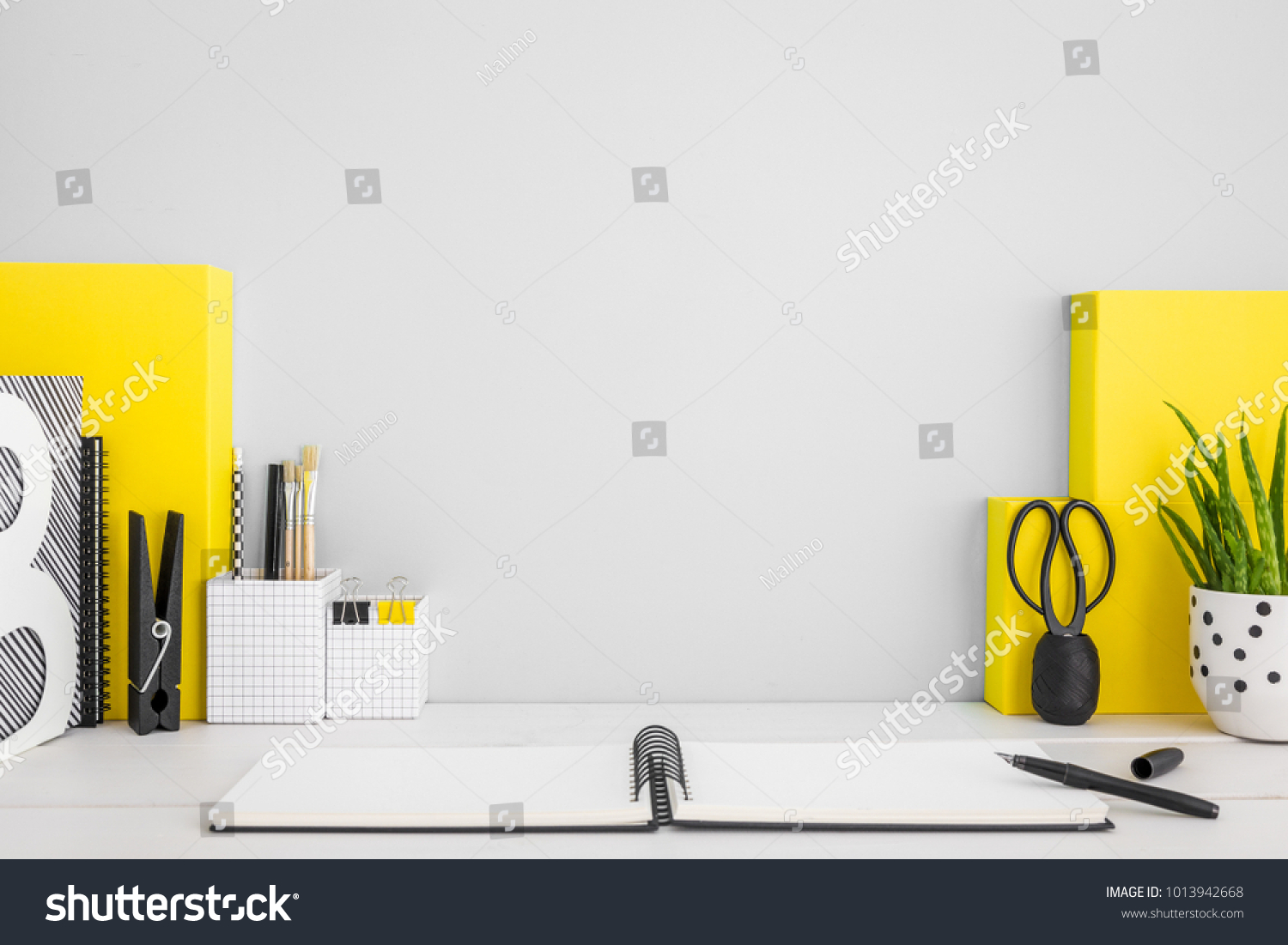 Miraculous Stock Photo Stylish Home Office Desk With Copy Space Books Interior Design Ideas Clesiryabchikinfo